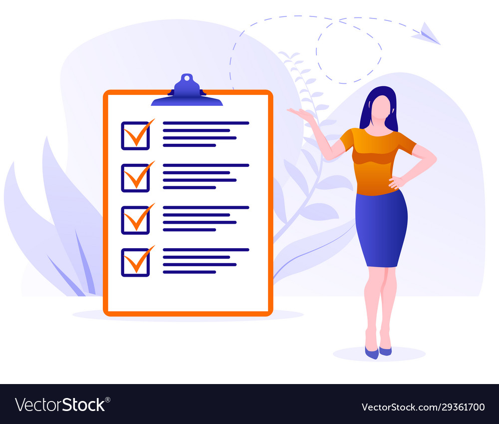 Businesswoman checklist concept business woman