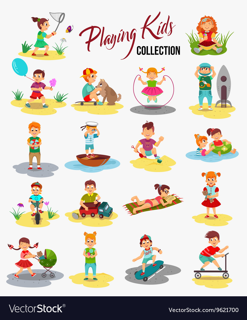Children playing isolated Cartoon kids