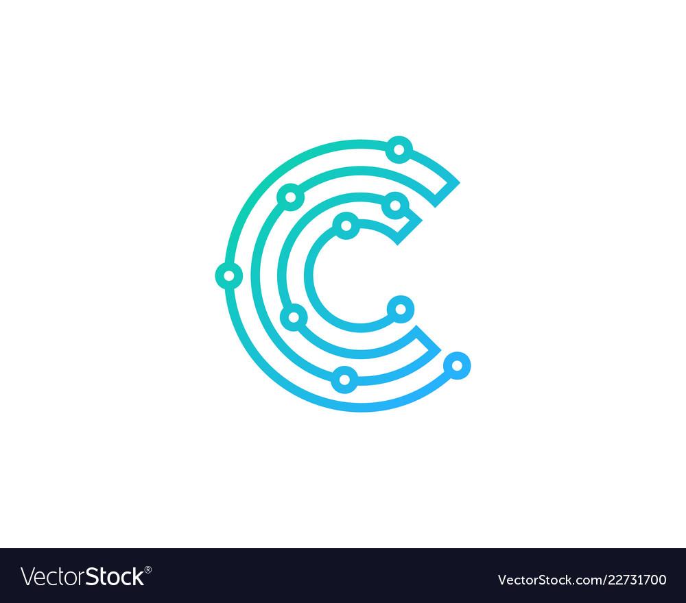 C Logo: Digital Letter C Logo Icon Design Royalty Free Vector Image