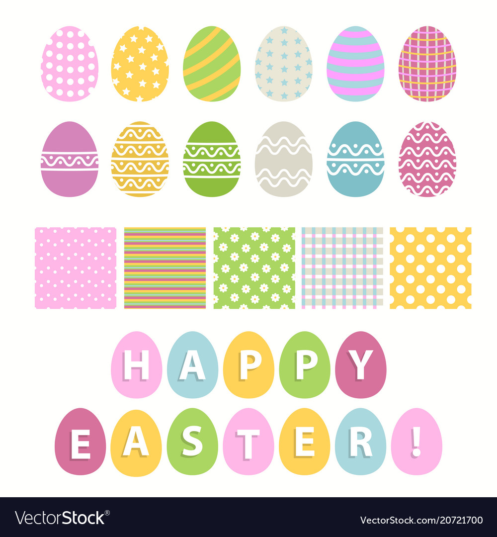 Easter egg and seamless pattern set over white