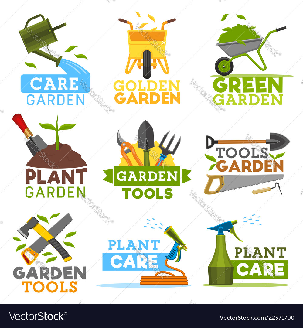 Farm Gardening And Planting Tools Icons Royalty Free Vector