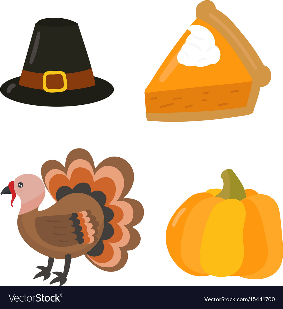 Happy thanksgiving day symbols design holiday