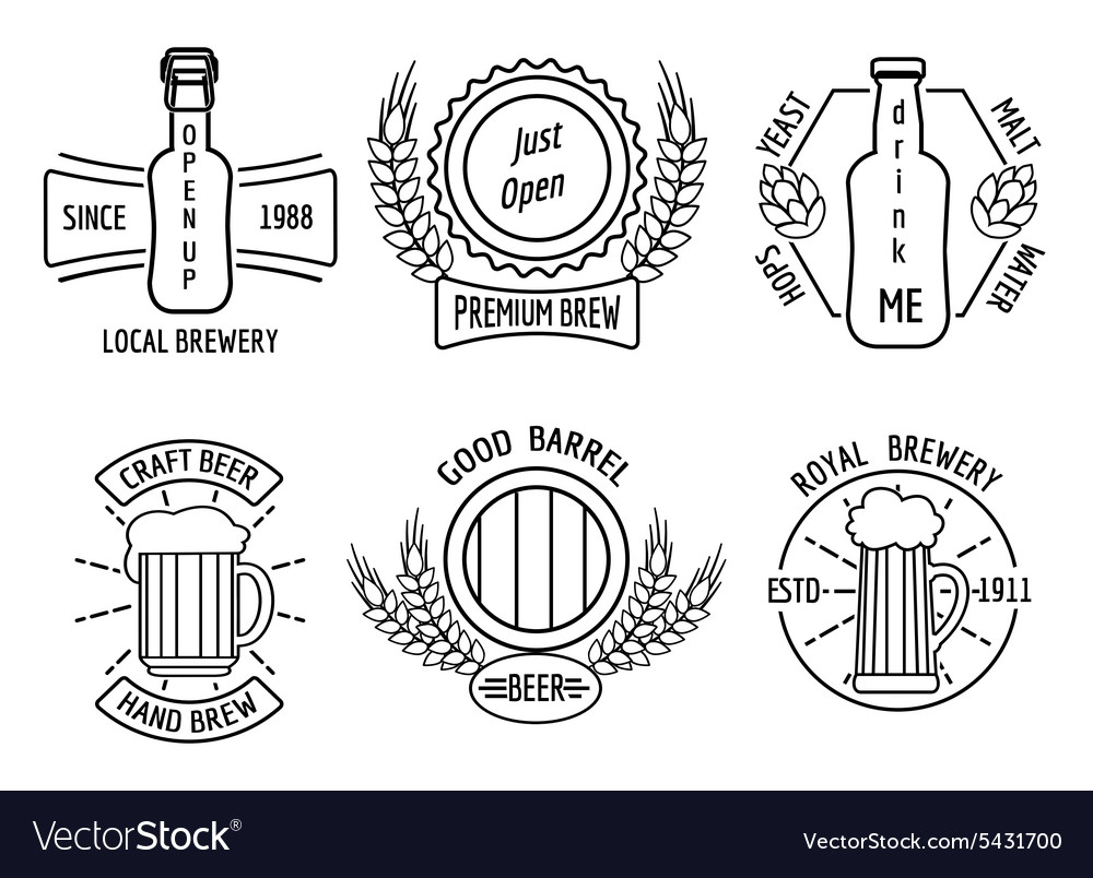 Line logo templates for beer house and craft vector image