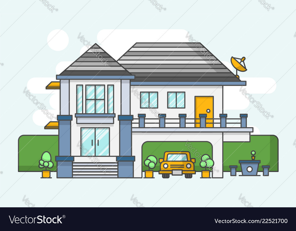 Modern house outline style and flat color design