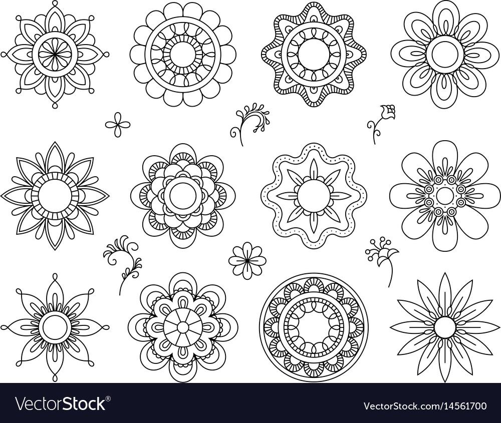 Set of flower mono line icons thin line blend