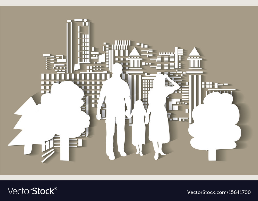 Silhouette city people family flat