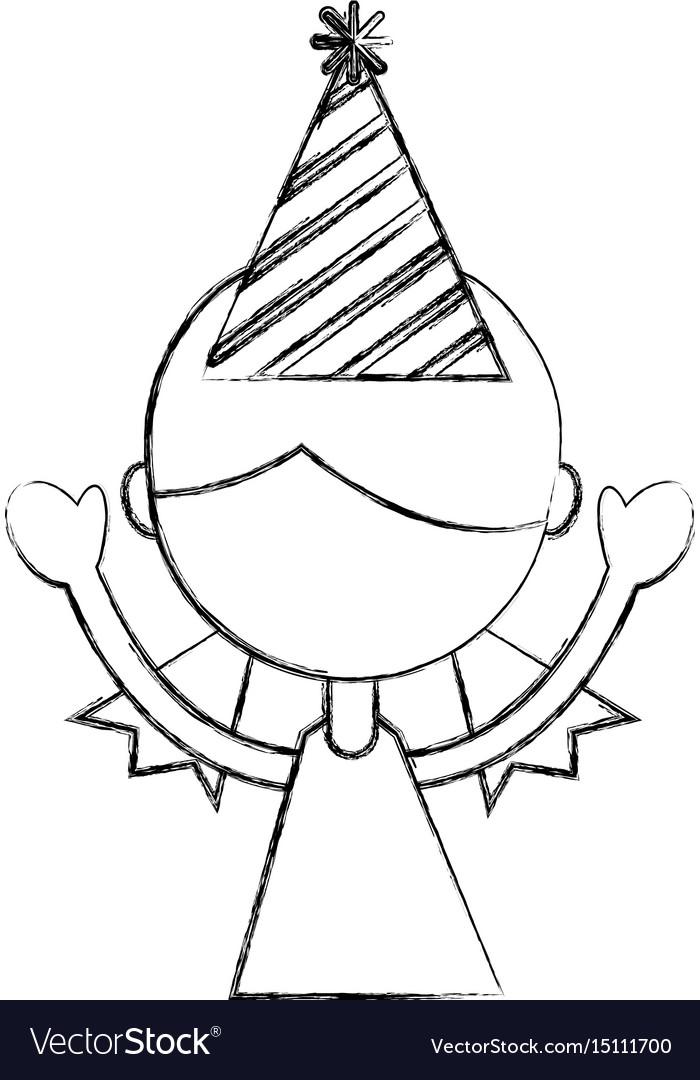 Sketch draw upperbody party girl cartoon