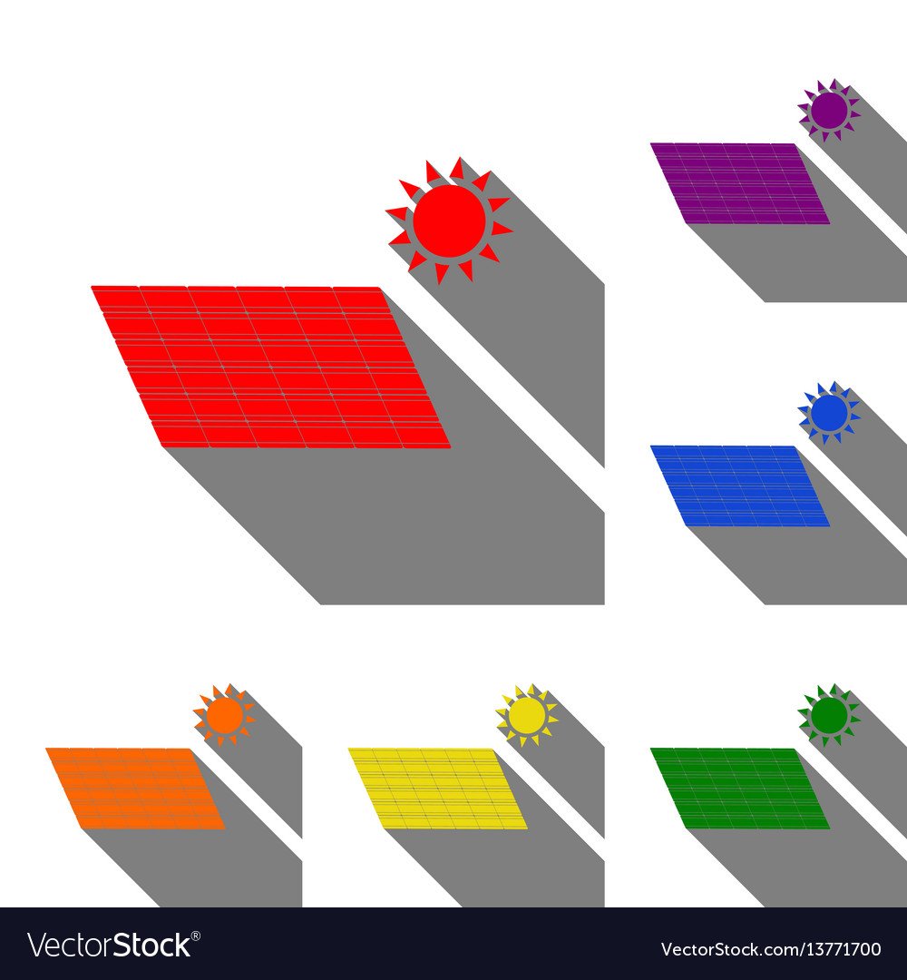 Solar energy panel eco trend concept sign set of vector image
