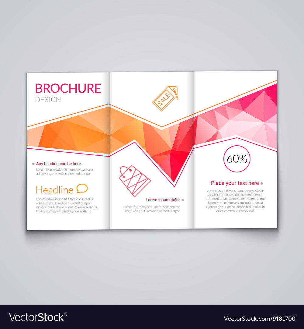 Tri-fold brochure design template with modern