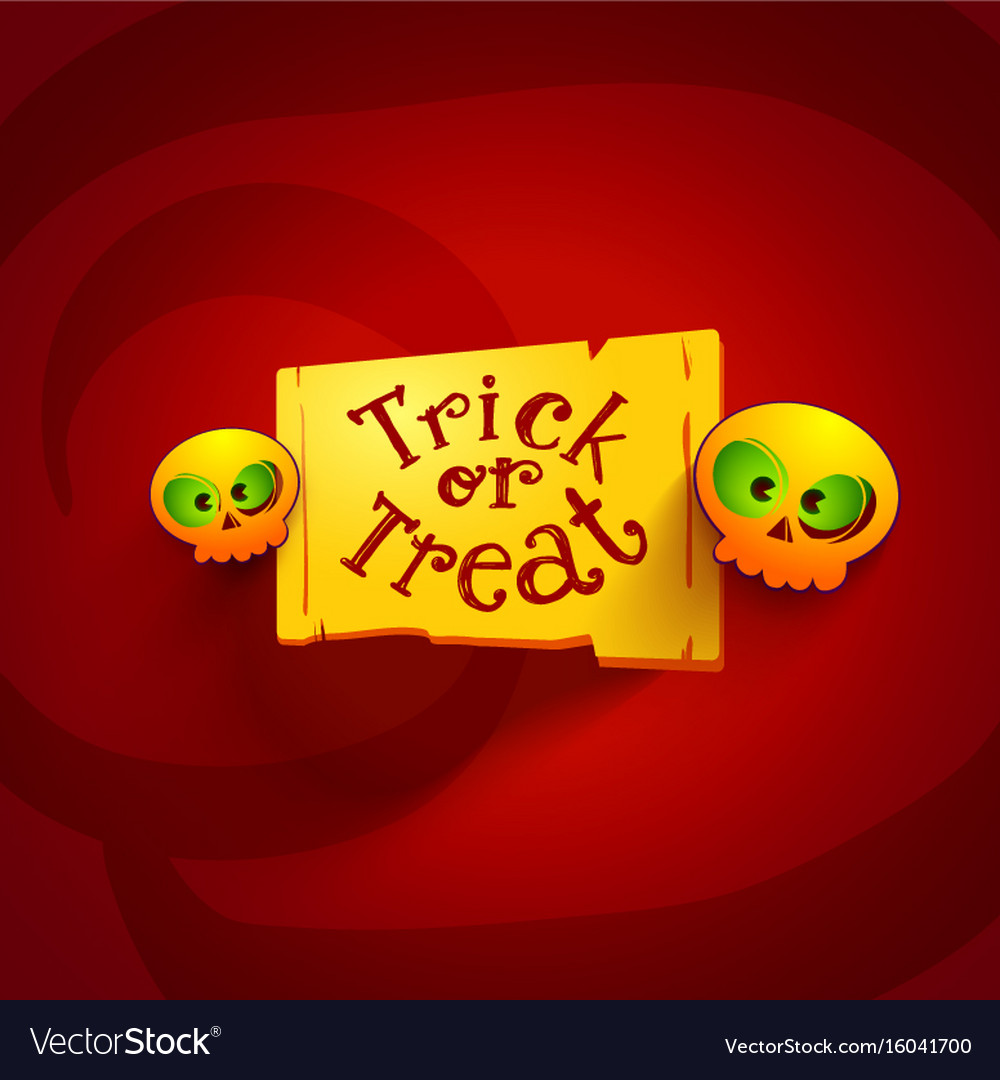 Trick or treat tag with looking skiulls vector image
