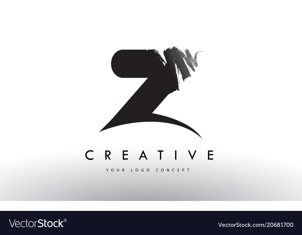 Z Brushed Letter Logo Black Brush Letters Design Vector Image