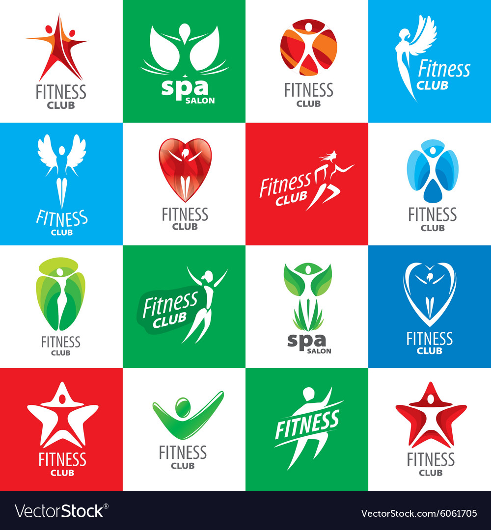 Biggest collection of logos for fitness clubs vector image