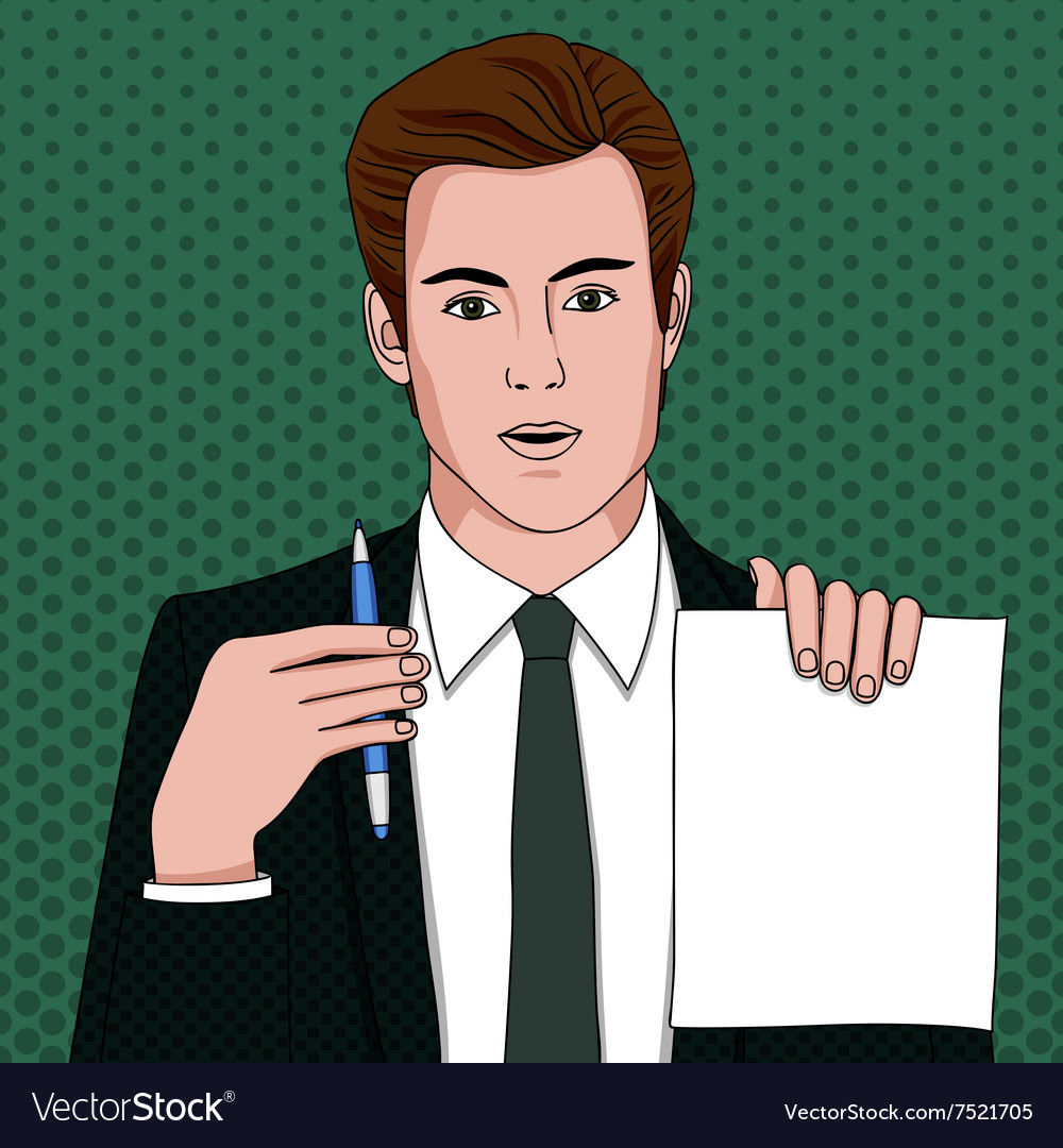 Businessman with document and pen
