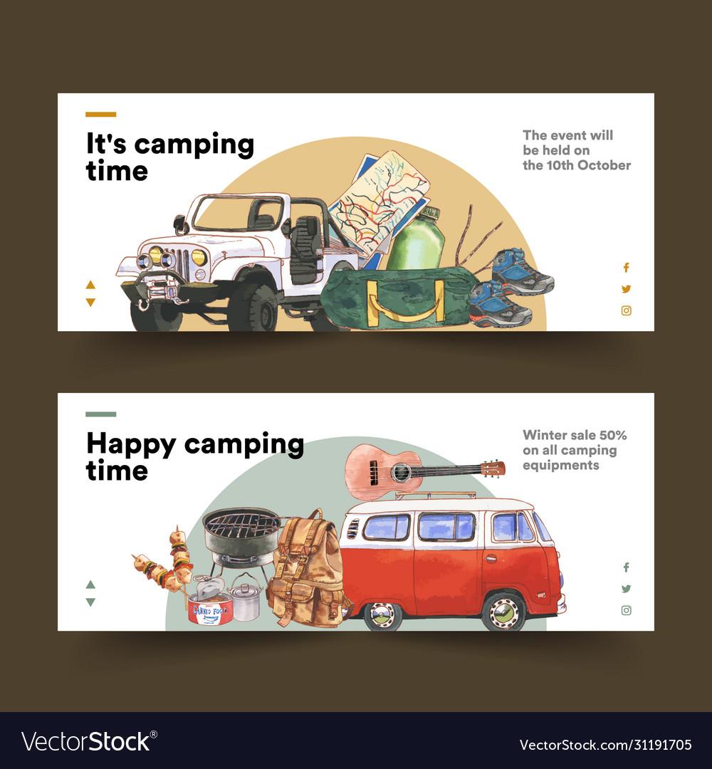 Camping banner design with van guitar hiking
