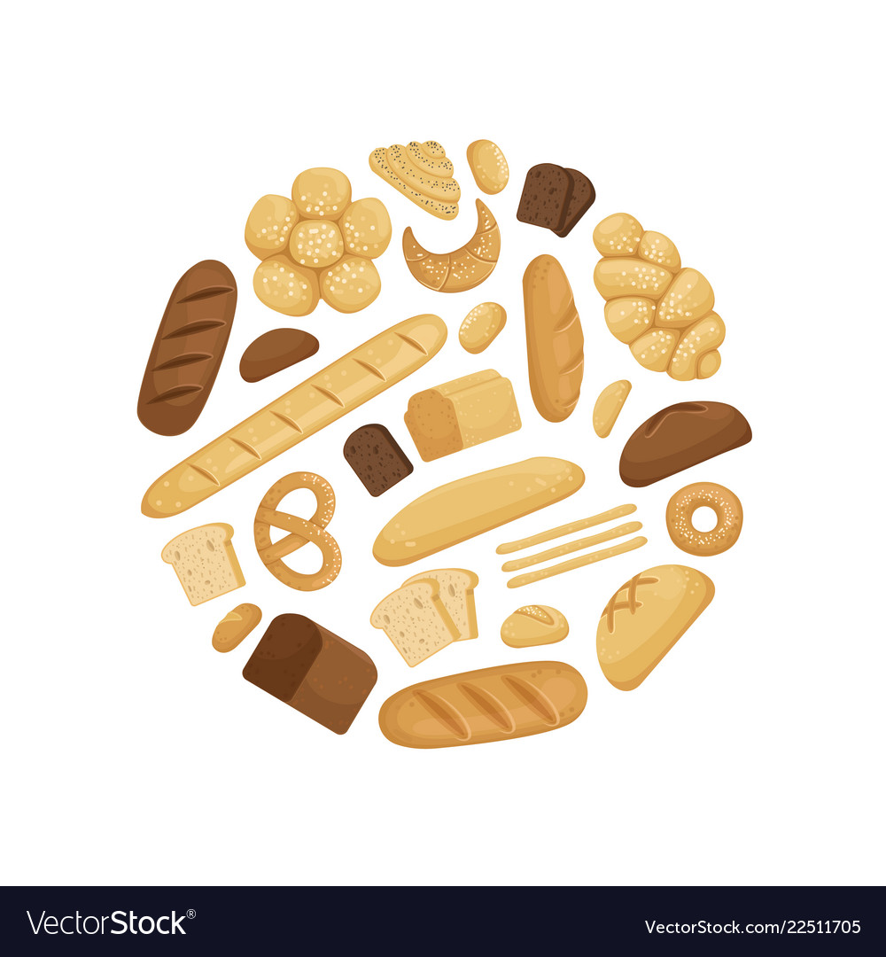 Cartoon bakery elements in circle shape