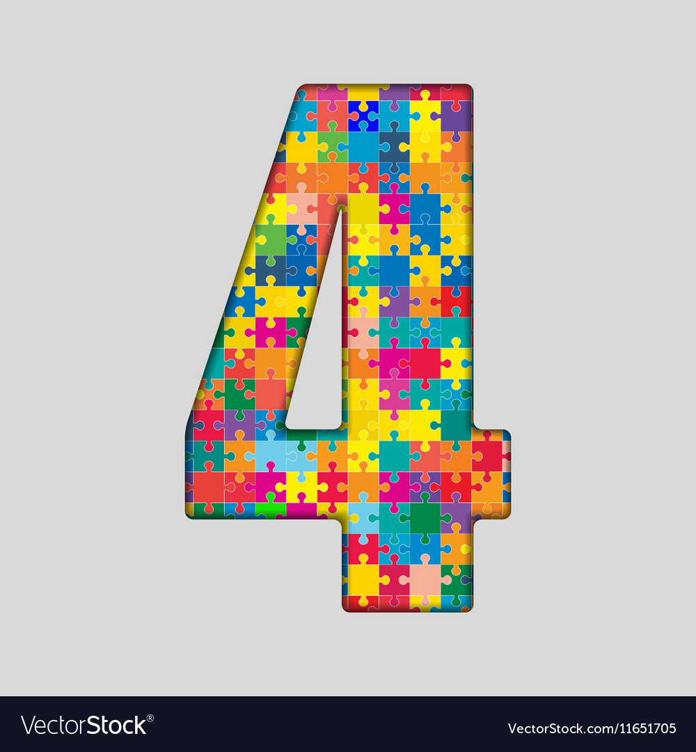 Color Puzzle Number - 4 Four Gigsaw Piece Vector Image