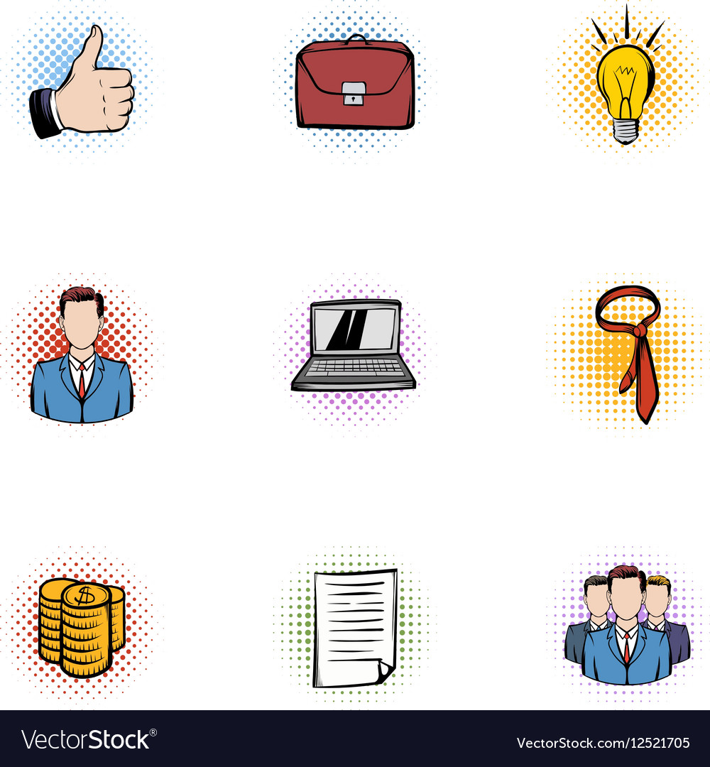Company icons set pop-art style vector image
