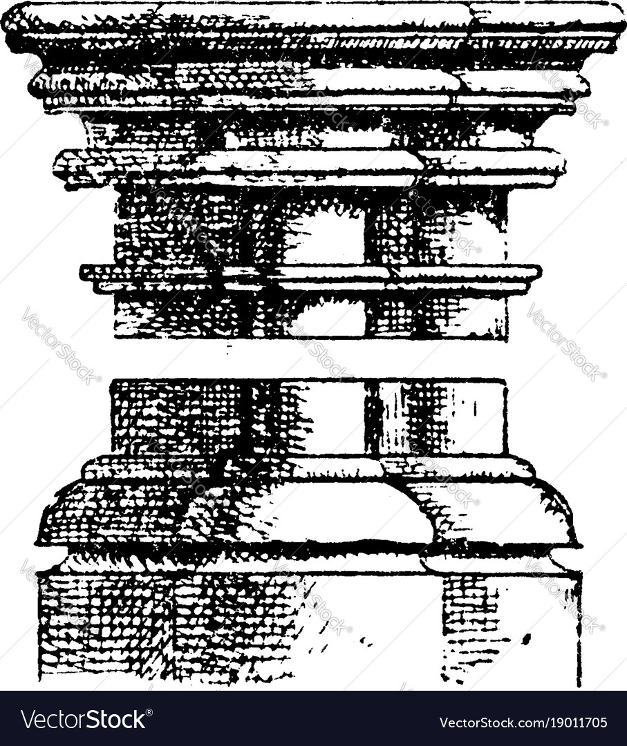 Gothic Architecture Column Shows How The Capital Vector Image