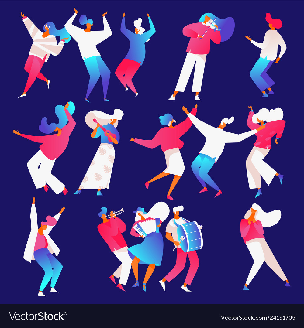 Isolated on blue backround dancing and playing