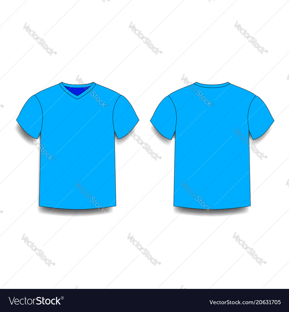 Light Blue Male T Shirt Template V Neck Front And Vector Image