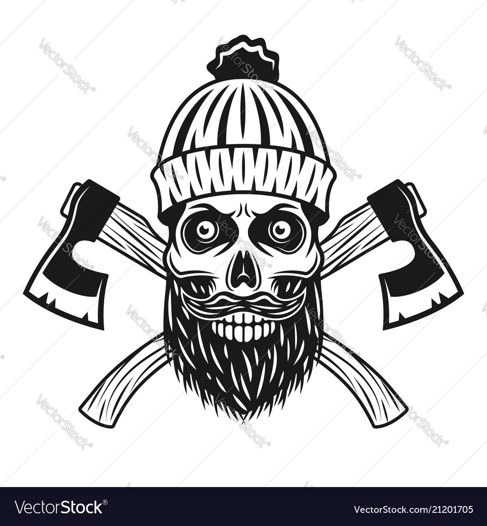 Lumberjack skull in knitted hat with beard axes