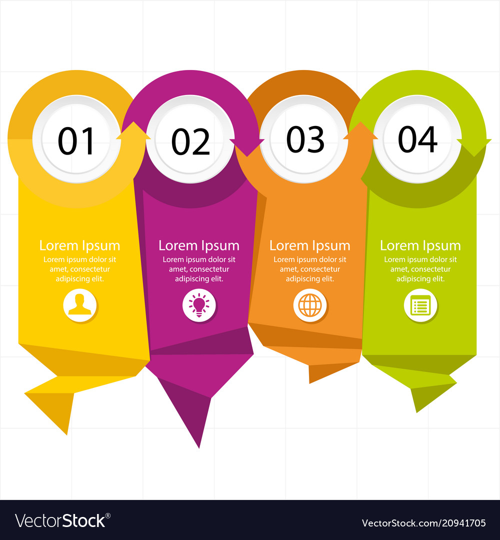 Modern paper tag infographic elements four colors