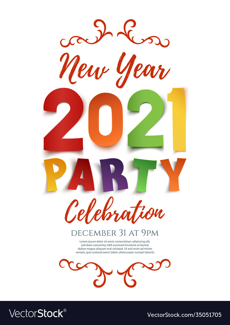New year 2021 party poster template isolated on