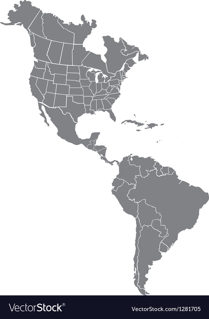 Free Vector Map Of North America.North And South America Map Royalty Free Vector Image