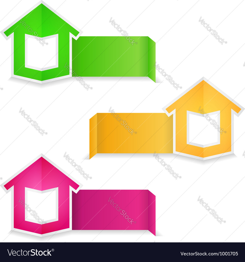 Origami banners with house vector image