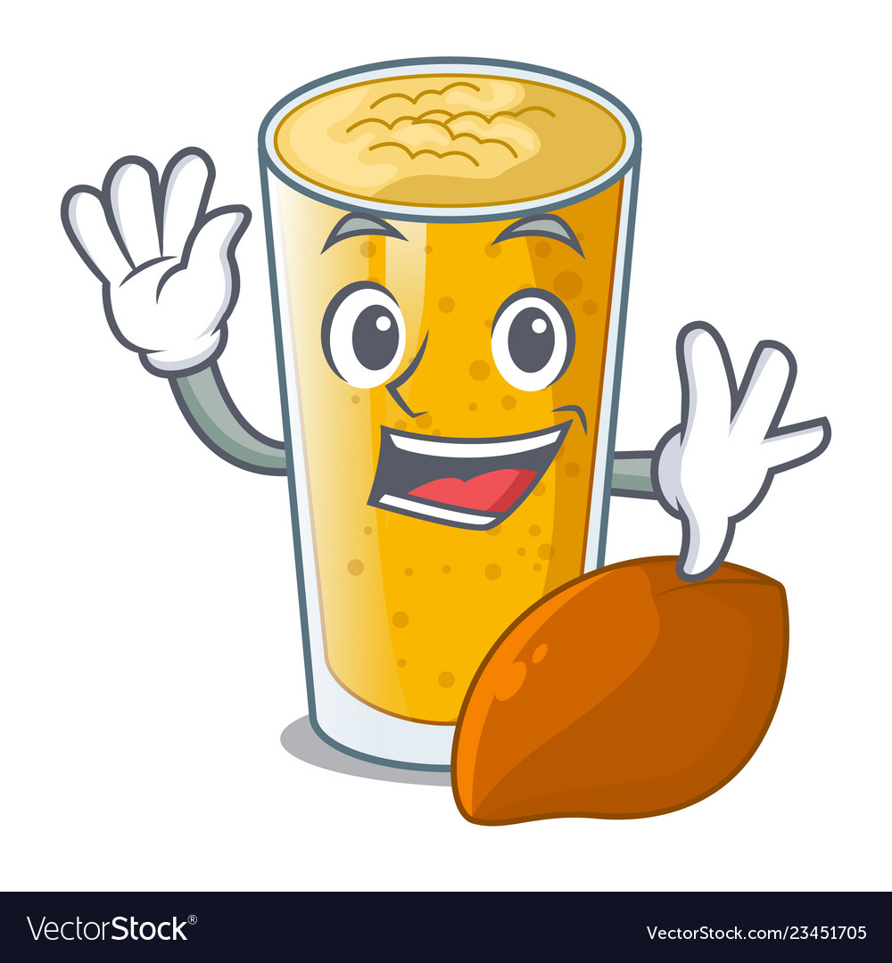 Waving lassi mango in a cartoon bottle