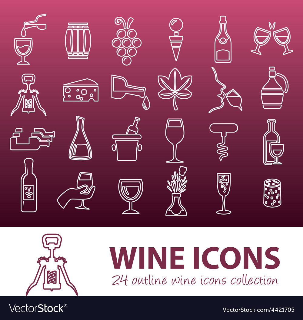 Wine outline icons