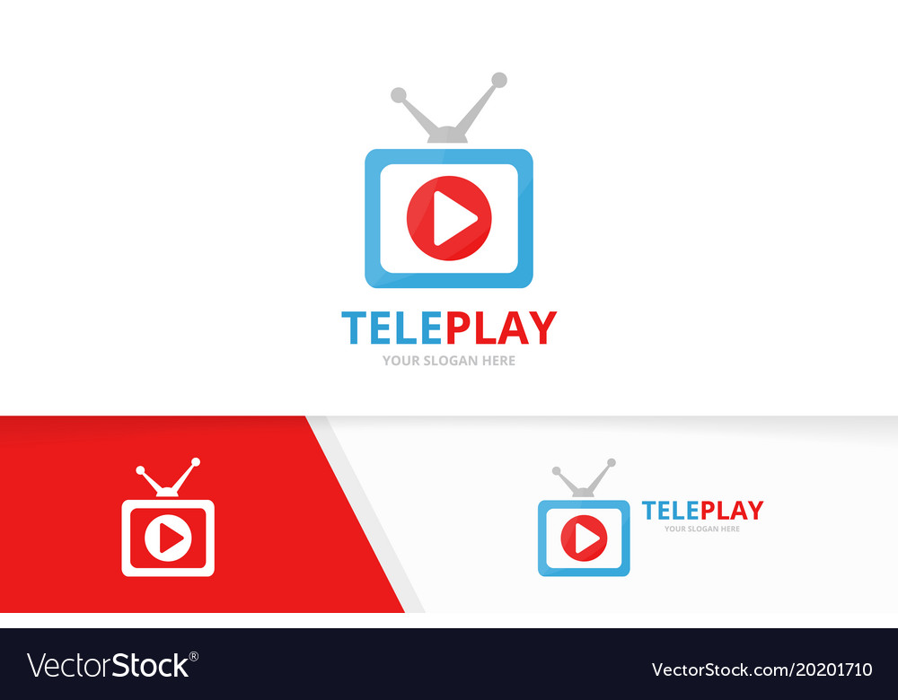 Button play and tv logo combination record vector image