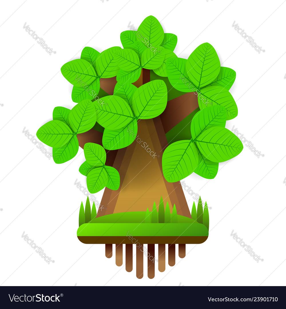 Cartoon style tree icon isolated on white