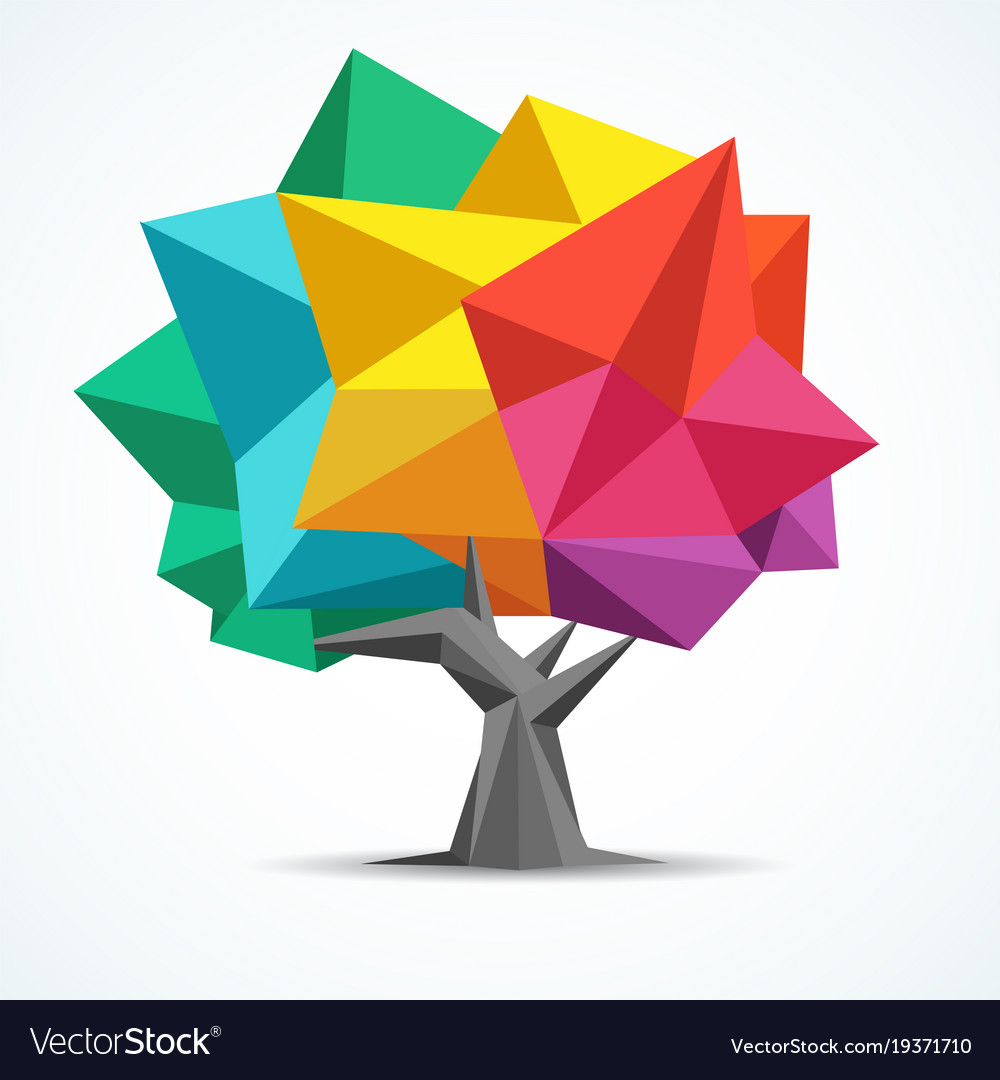 colorful tree geometric polygon design royalty free vector