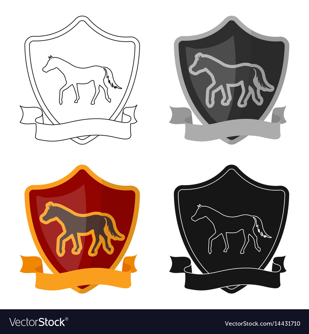 Equestrian blaze icon in cartoon style isolated on