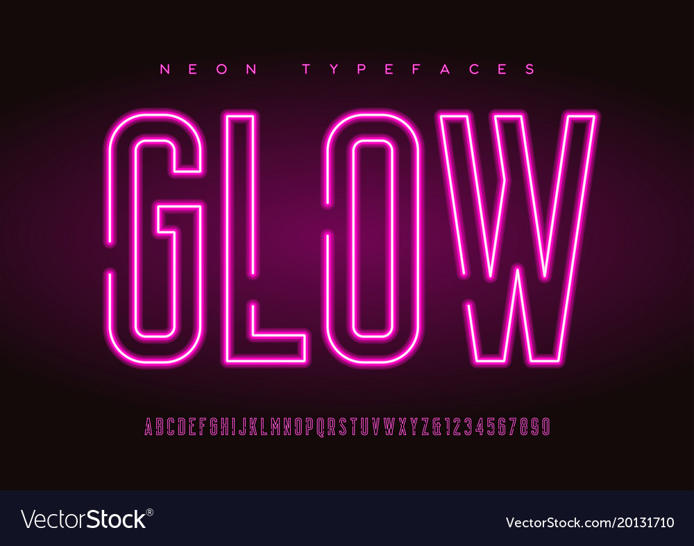 Glowing linear neon typefaces alphabet