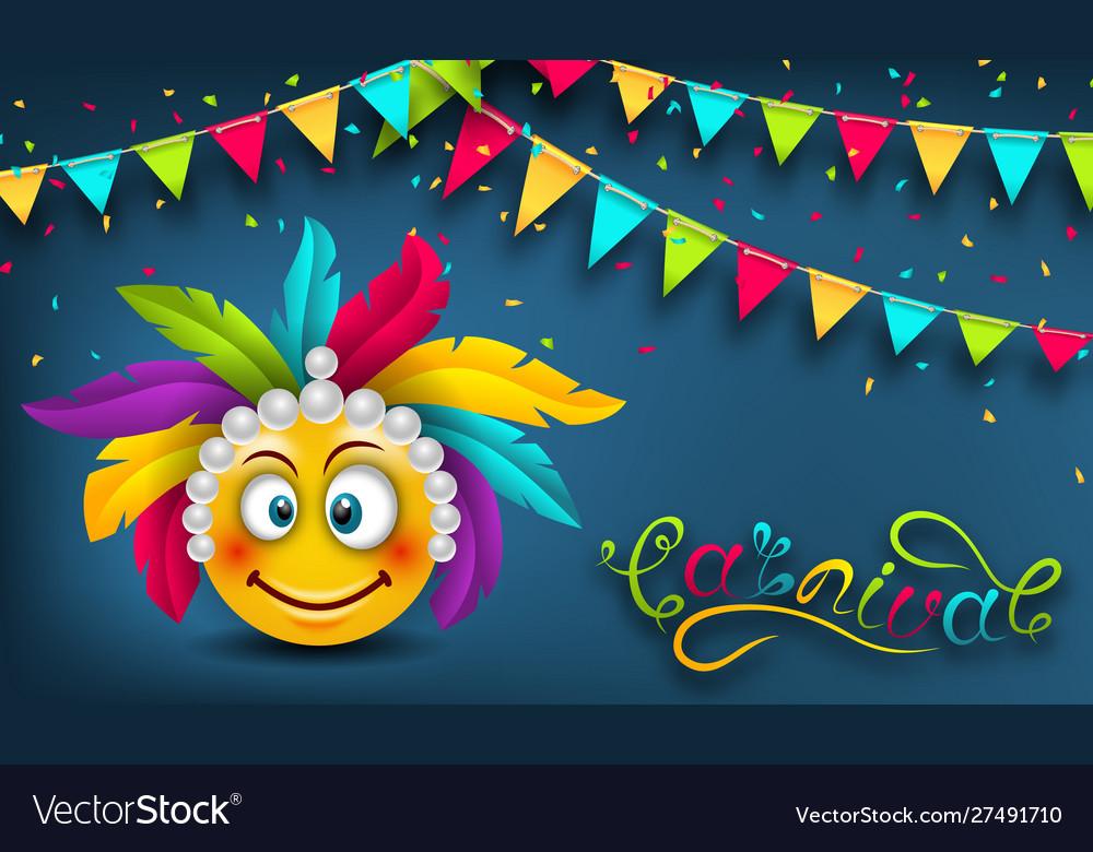 Happy carnival festive banner smile emoji