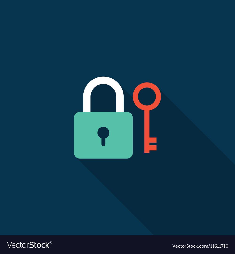 Lock and key icon flat design