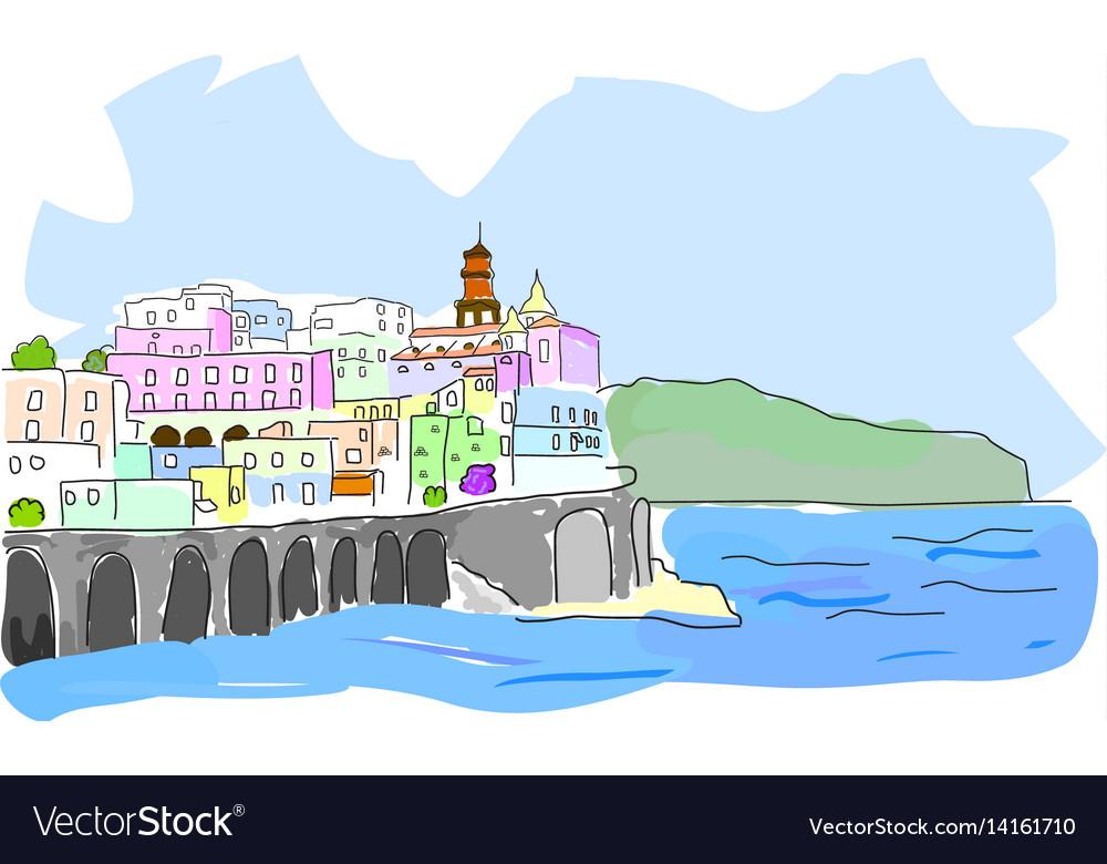Mediterranean town sketch of sea town in