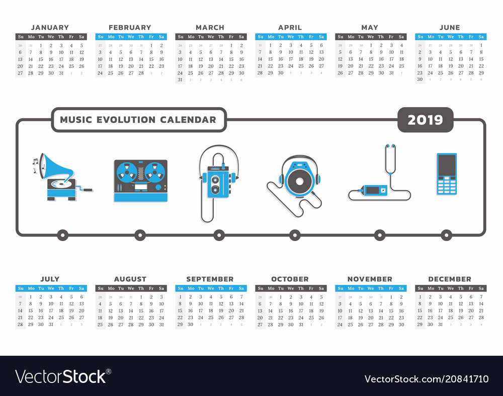 Music evolution calendar 2019