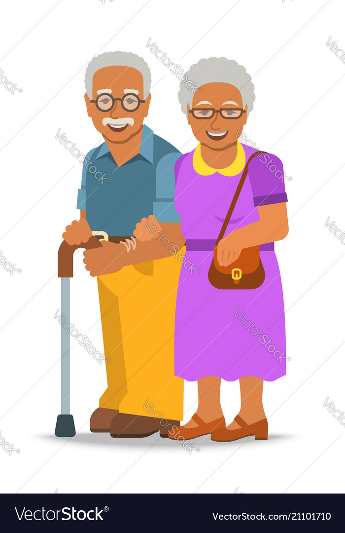 Old couple african man and woman standing together