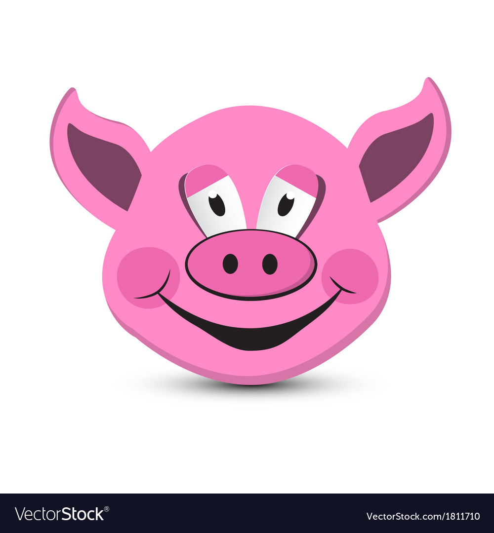 Pink Pig Head Isolated on White Background