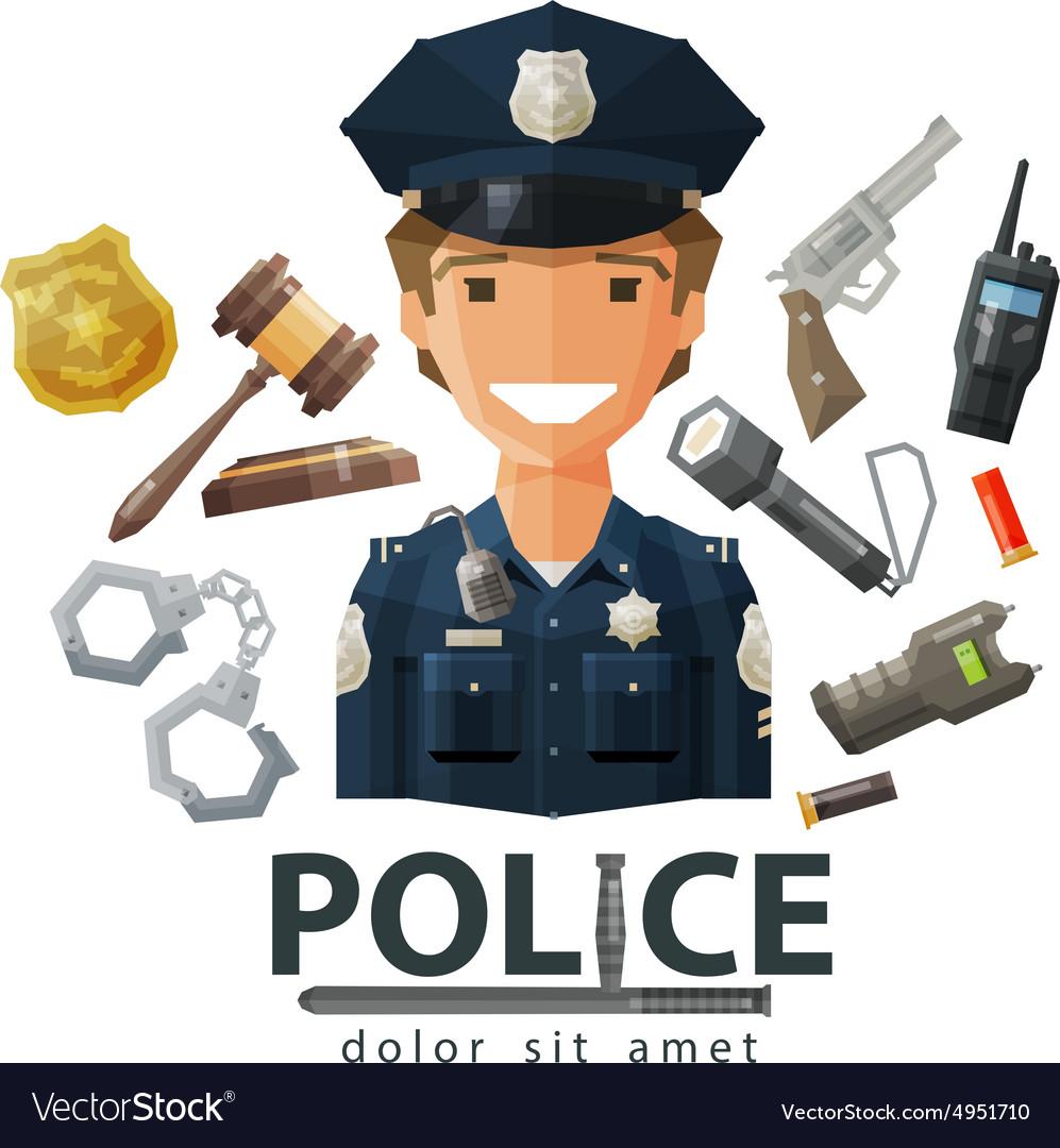 Police logo design template policeman cop