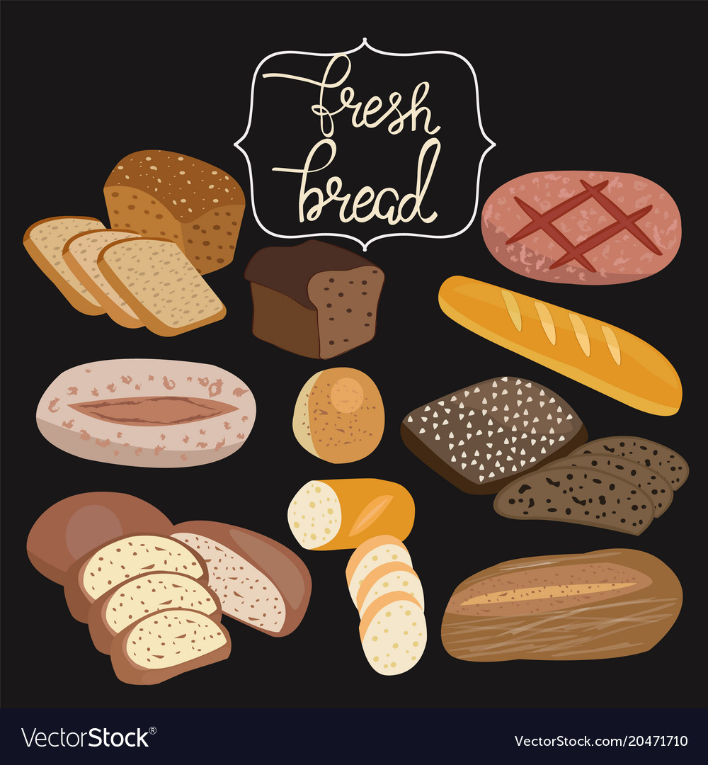 Rye bread ciabatta wheat bread whole grain vector image