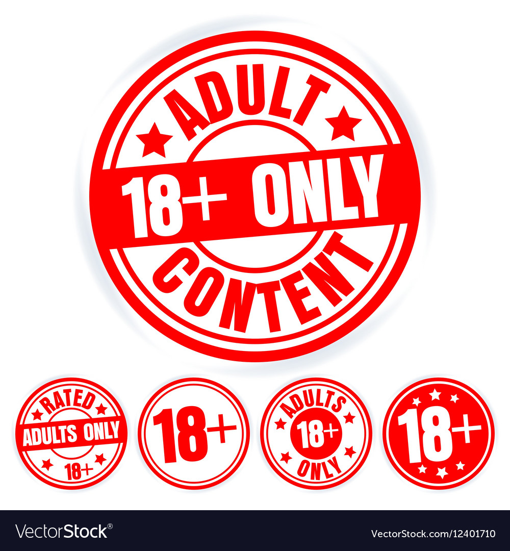 Set Of Red Round Stamps Adults Only Grungy Icons