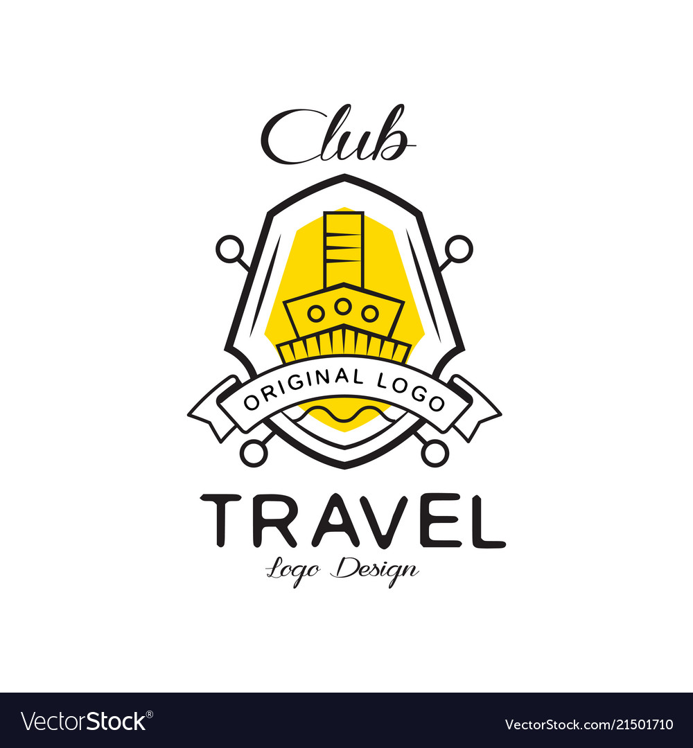 Travel club logo design heraldic shield with ship