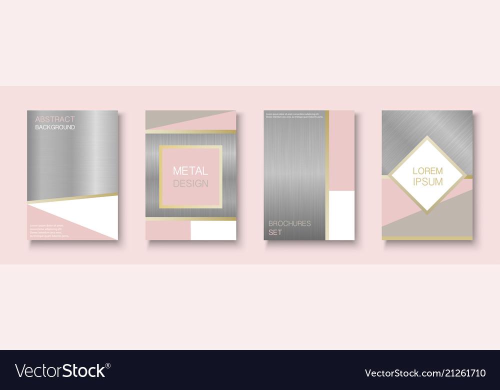 Trendy brochure set metallic design with