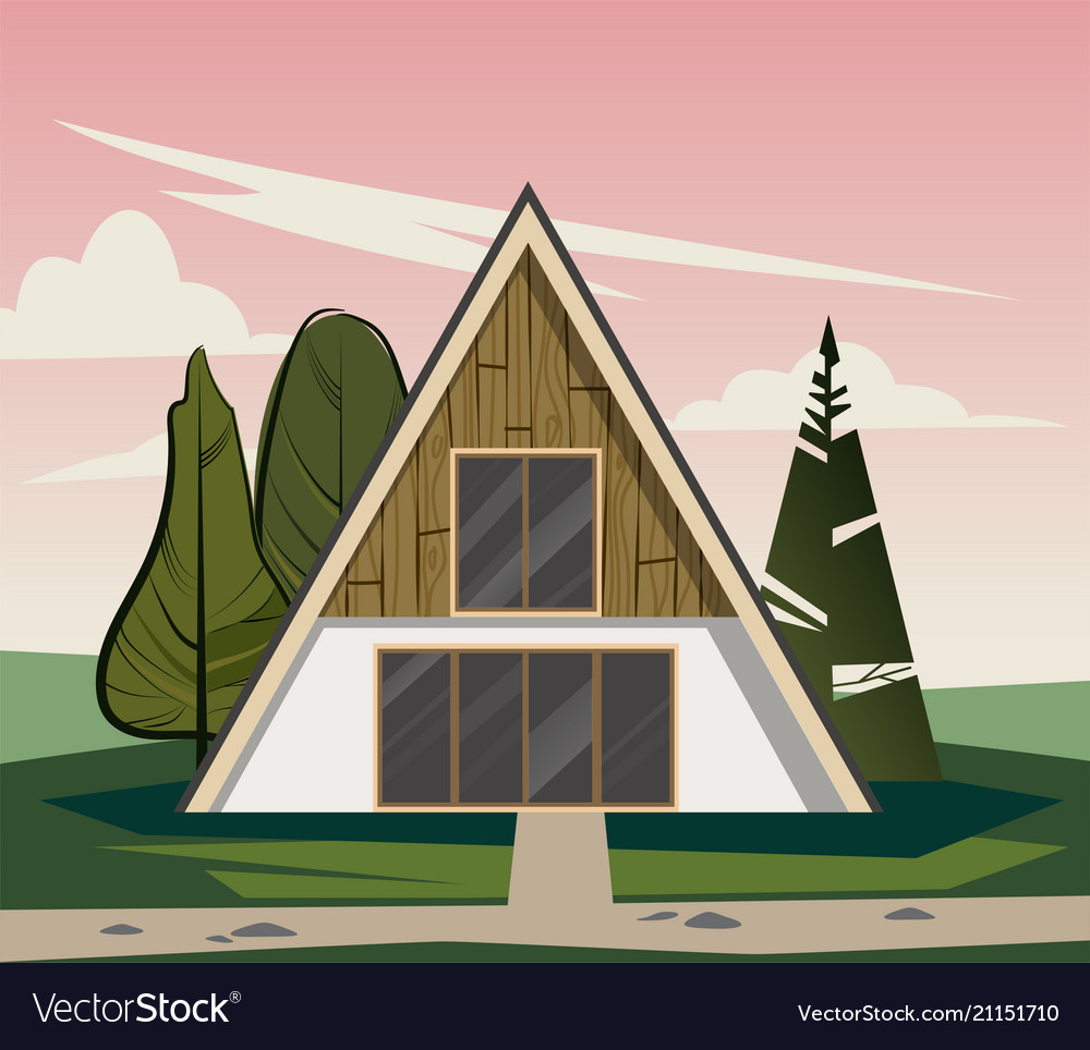 Wooden triangular house with large windows