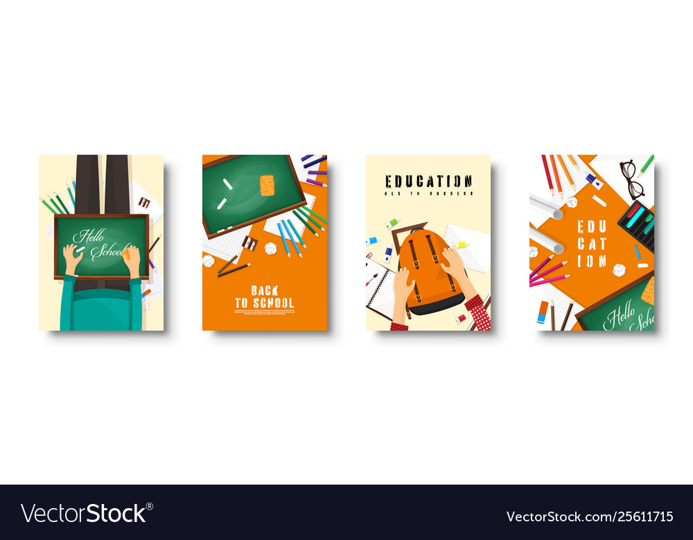 Back to school flat covers set online education