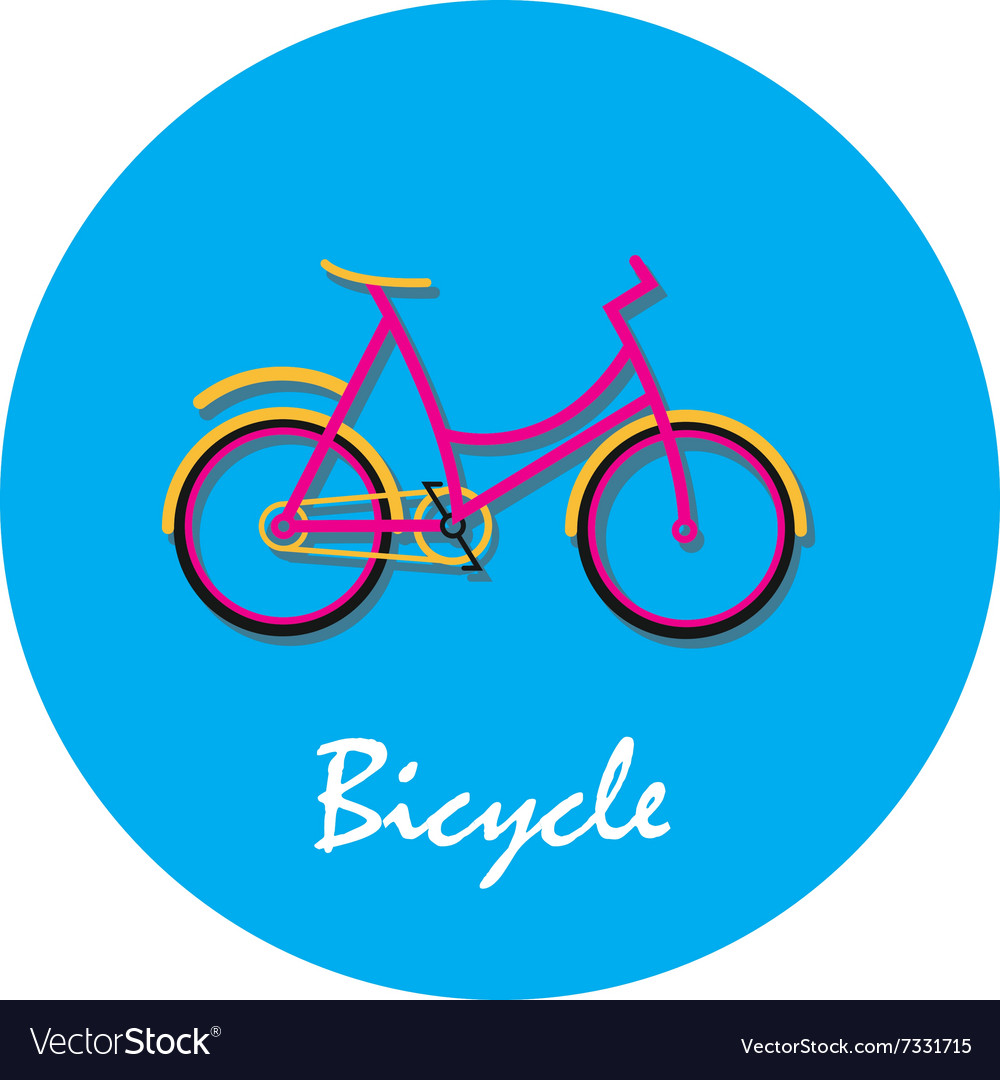 Bicycle flat icon in round shape